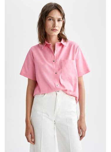DeFacto Cep Detaylı Relax Fit Tencel Kısa Kollu Gömlek Pembe